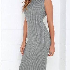 820a6300b6e5 Lulu s Dresses - Lulu s Cozy on Down Grey Midi Sweater ...