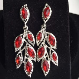 Jewelry - Red stone earrings with rhinestone accent