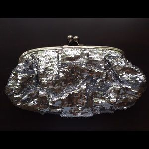 Large Silver Sequin Clutch