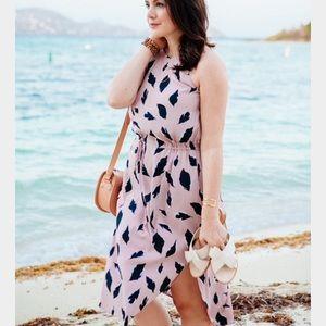 Loft Leaf Print Midi Dress