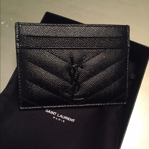 e3d1b805dbafb Authentic SAINT LAURENT QUILTED CARD HOLDER