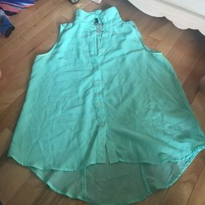 Maurices sheer teal with lace tank top size Large