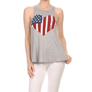 Tops - 1 HOUR SALE!! Heart Flag Top