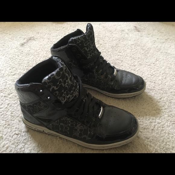 coach high top sneakers black