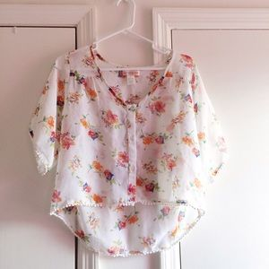 Band of Gypsies Tops - Band of Gypsies Floral Pom Sleeve Top