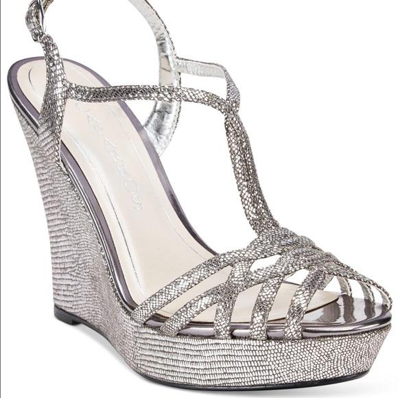 af9ef4066 Caparros Shoes - Caparros Bristol T-Strap Wedge Silver Sandals