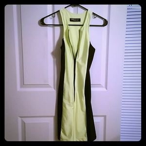 CelebBoutique Dresses & Skirts - Neon green and black body con zip dress