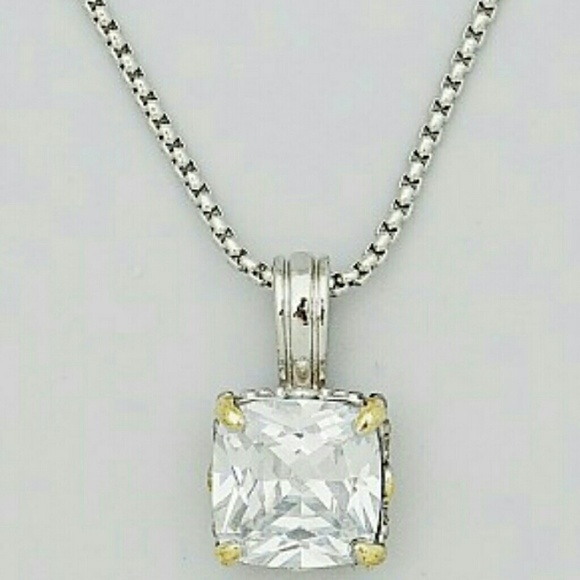 jankuo square cubic zirconia cz necklace from k n kruse
