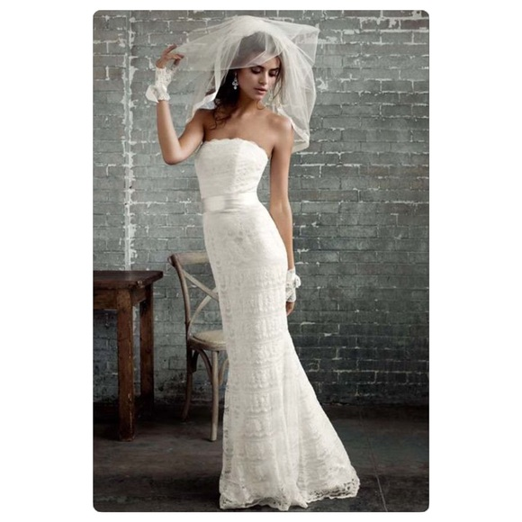 4cc0be7f2e David's Bridal Dresses | Davids Bridal Lace Sheath Wedding Dress ...