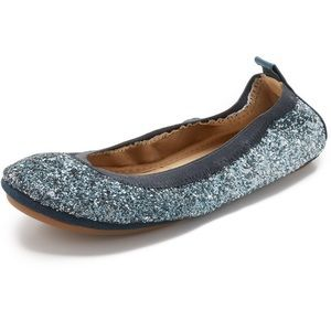 Yosi Samra Shoes - Blue Glitter 'Samara' Foldable Flats