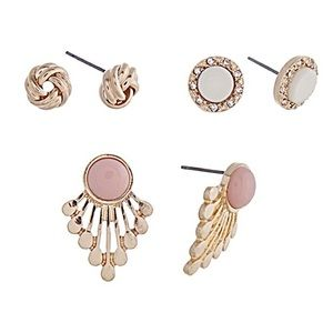 👂🏼Pink & Gold Fan/Knot/Button Post Earring Trio