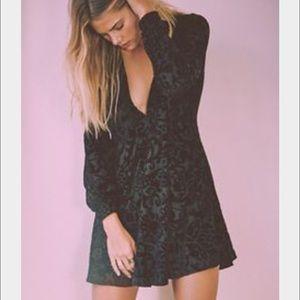 Free People All Night Long Mini Dress - Black - XS