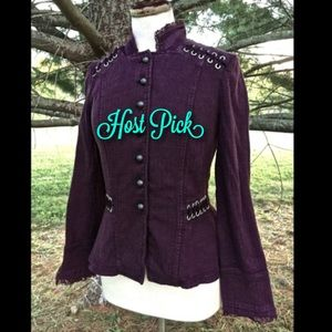 Free People purple plum Victorian Lace Up Jacket S
