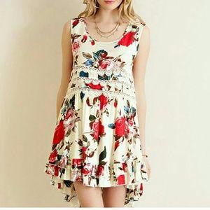 NEW | THE AURORA CO | floral cream dress