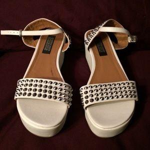 Deena & Ozzy Shoes - Deena & Ozzy white studded flatforms