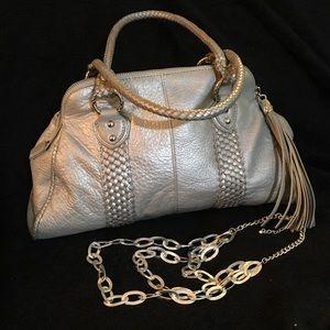 Elliott Lucca Handbags - ELLIOTT LUCCA LEATHER SILVER PURSE