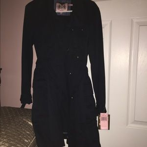 Juicy couture navy blue trench 3 1/4 inc coat