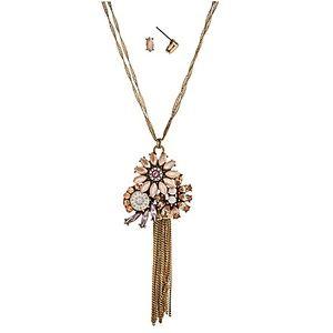🌸📿Blush Gem Flower Cluster & Tassel Necklace Set