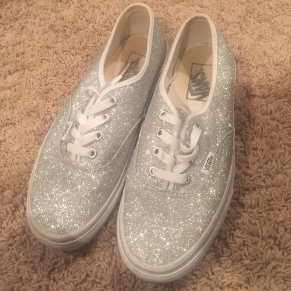 Vans Shoes | Silver Sparkly Vans | Poshmark
