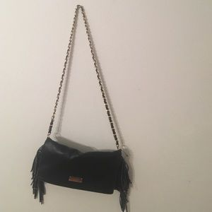 BCBG black fringe purse
