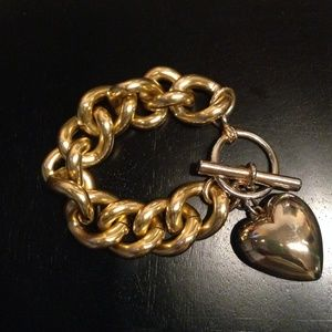 Jewelry - Gold Link Bracelet with Puffed Heart Charm