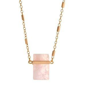 🌸📿Rose Quartz Rectangular Pendant Necklace