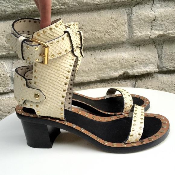 ce3cf36c174 Isabel Marant Shoes   Jaeryn Studded Snakeeffect Sandals   Poshmark