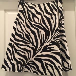 Zebra print a-line knee-length skater skirt