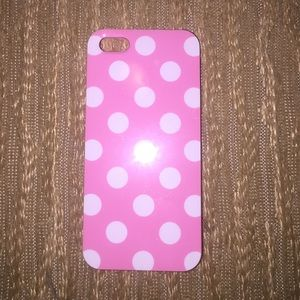 Accessories - Pink and white polkadot IPhone 4 rubber case