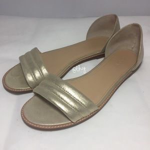 J.CREW HAYES METALLIC SUEDE SANDALS - 8.5