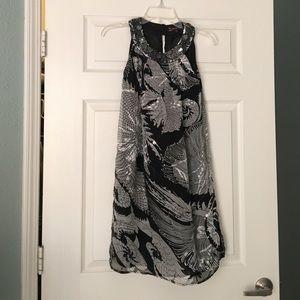 Black & grey cocktail dress with jeweled neckline