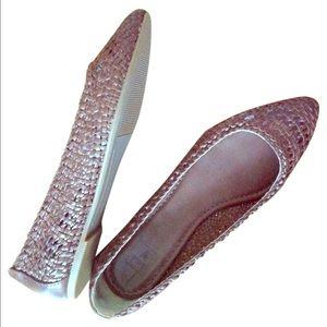 NEW FRYE brown leather woven ballet flat shoes 7.5