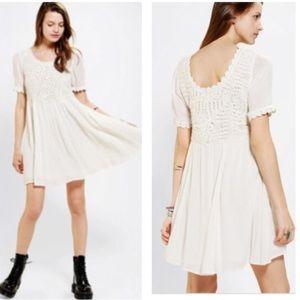 MINK PINK x URBAN OUTFITTERS cream crochet dress