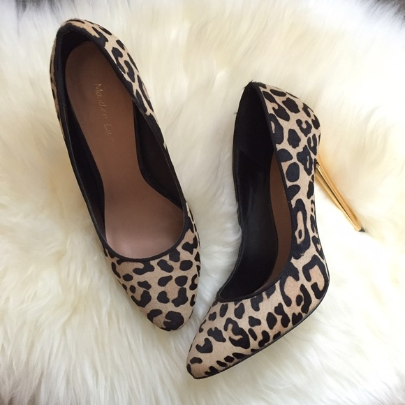 Maiden Lane Shoes - Leopard Print Gold Stilettos