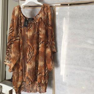Tops - Brown and tan blouse. Shear material Sz 3x
