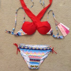 Other - Unique Red Tribal Print Bikini Swimsuit