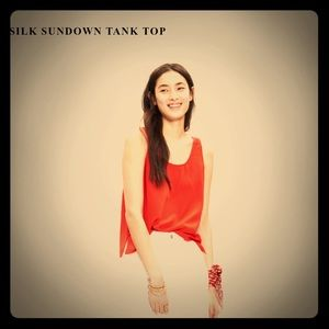 Madewell Silk Sundown Tank in Tropical Coral Sz Sm