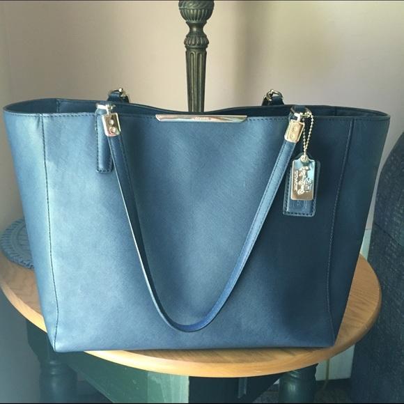9ed5840748 Coach Handbags - 🎉SALE! Coach Madison East/West Navy Saffiano Tote