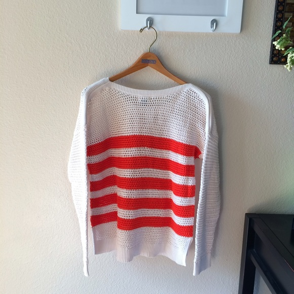 56% off Old Navy Sweaters - NWOT Old Navy Open Stitch Red Striped ...