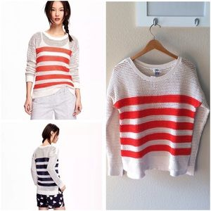 NWT Old Navy Open Stitch Red Striped Sweater