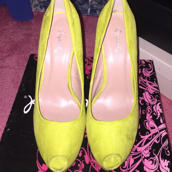 58 qupid shoes lime green platform peep toe sandal