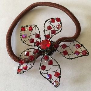 🌹Bejeweled Floral Pony Tail Holder