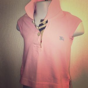 BURBERRY Pink Cap Sleeve Baby Girl Polo Shirt 18M
