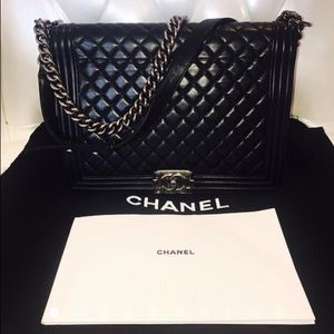 Large Chanel Le Boy Silver Hardware with dustbag.