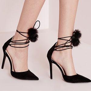 Missguided pom pom court shoes
