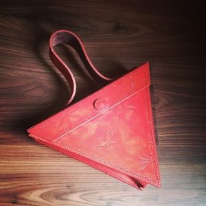 Artisian handmade leather triangle purse - orange