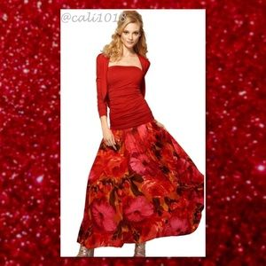 """Newport News Dresses & Skirts - 🆕 Red Floral Maxi Duster Skirt 39"""" Long MSRP $79"""