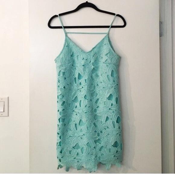 5da4d07d65ff ASTR Dresses   Skirts - Mint Tiffany blue floral lace crochet shift dress