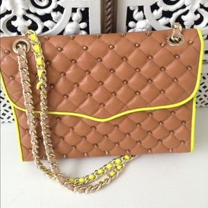 Rebecca Minkoff Studded Quilted Affair Bag Tan