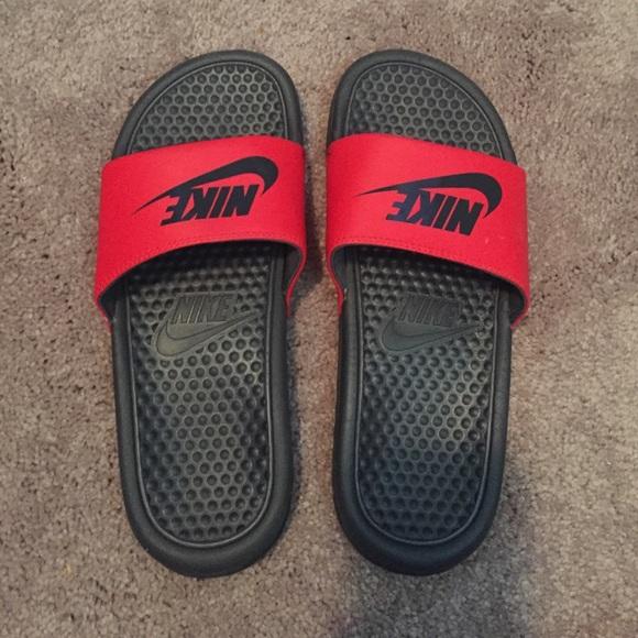 51015e2ab Nike Shoes - Black   Red Nike Slides